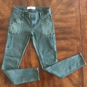 Hollister olive super skinny cargo zip ankle pants